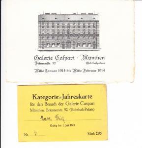 München, Galerie Caspari, Ausstellung Jan/Feb 1914, 2 sehr gute Belege