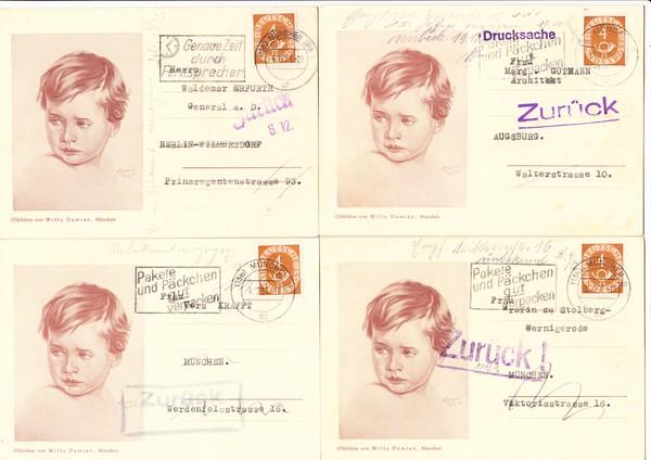 Haus der (deutschen) Kunst-Maler Willy Damian schreibt potentielle Kunden an, dessen Retouren von 1951, 9 Belege, alles verschiedene zurück-Stempel, dazu 3 andere AK des Künstlers 0