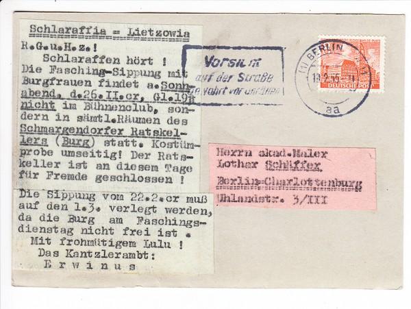 Unikat, Schlaraffen-Karte, Berlin 1955, Einladung zu Sippung, Männerphantasien auf der Rückseite! 1
