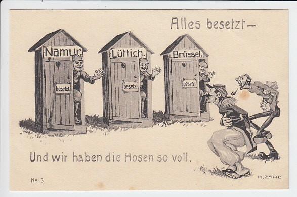 Deutsche Propaganda-Karrikatur, ungelaufen, beste Erhaltung 0