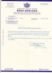 München, Schreiben mit Kuvert, Compagnia Italiana Turismo