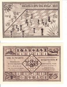 2 Schach-Notgeld/Gutscheine 1921, 29. Schachkongress Thüringen!