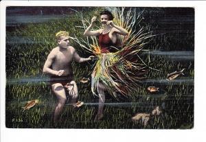 USA, Col.-AK, gel. 1948, US-Zone, Unterwasser-Tanz