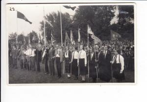 Foto-AK VDA-Abordnung 1933, Rhein-Wiese Köln-Deuttz, RS: Haftspuren, trotzdem guter Heimatbeleg