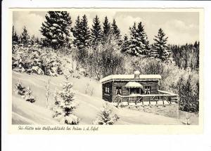 """Prüm, Eifel, winterlich, Ski-Hütte """"Zur Wolfsschlucht"""", gel. 1953"""
