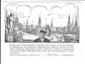 """Hamburg, Eigenwerbekarte des """"Gesellschaftsführer"""" Adolf Gross, Adolf führt wohl unpolitisch, ungel."""