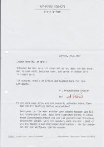 Ephraim Kishon, guter Autograph zum Thema Schach