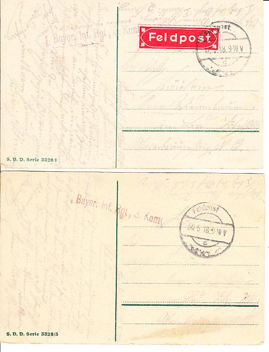 2 schöne Karten für Verliebte, Feldpost, RS auch i.O. 1