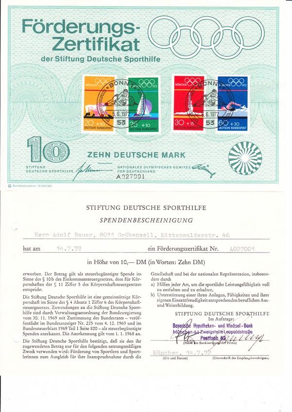Bundesdruckerei Sporhilfezertifikat 1972 mit Spendenbescheinigung, in Kombination selten 0