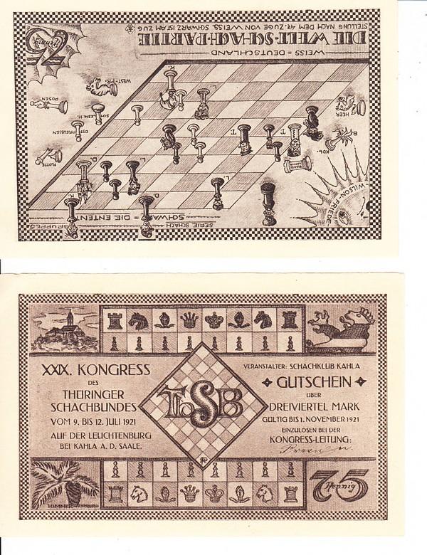 2 Schach-Notgeld/Gutscheine 1921, 29. Schachkongress Thüringen! 0