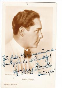 Harry Gondi 1900-1968, sehr rare AK, O-U + Widmung 1931, mehr Theater- als Film-Schauspieler, aber auch Mainstream-Kabarett