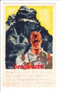 """P.O. Engelhardt, Dackel/Bier, für ihn untypisches, aber tolles Col-Litho """"Bergwacht"""" dazu eigenhändig von Alpinschriftsteller Georg Blab"""