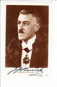 """Autogrammkarte """"Strauß II"""", Johann Strauss O-U, ungel."""