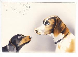 Werbedruck für Pressluftmalerei, megaselten!, zwei Hunde, gel., beste Erh.