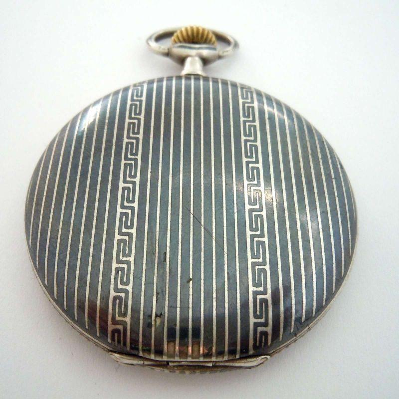 Silvana - Huguenin Freres, Schweizer Tula Silber Savonette-Taschenuhr um 1920