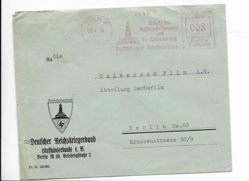 Brief 29.4.38, NS Deutscher Reichskriegerbund an Universum Film Berlin