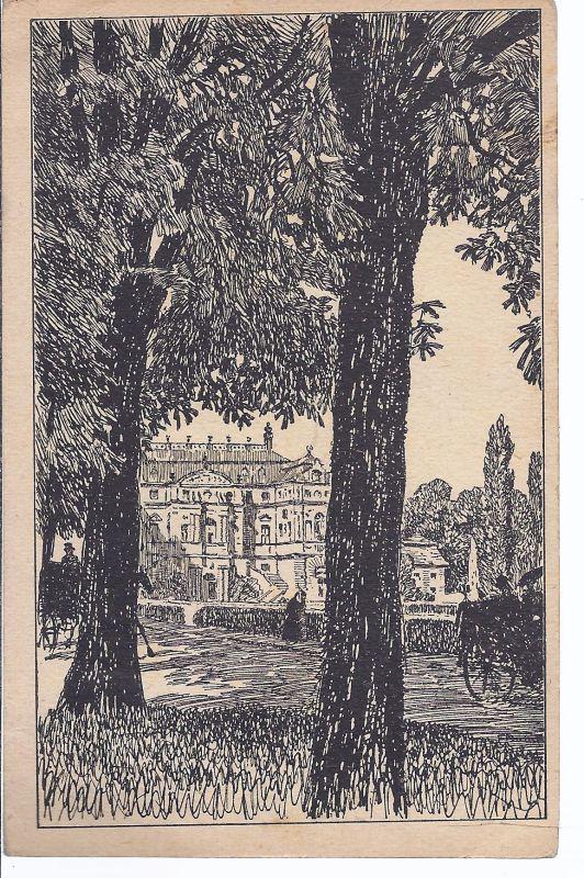 Niederpoyritz , im Großen Garten , Druck , postalisch verwendet 29.8.1925