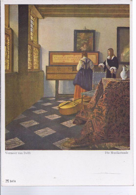 AK5-048  Gemäldekarte Vermeer van Delft - Die Musikstunde - Fotokarte