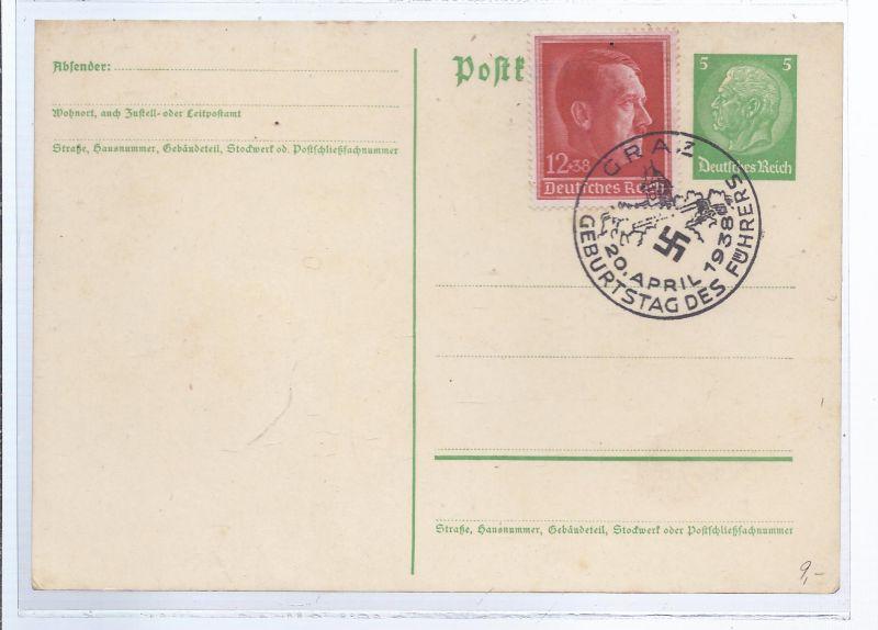 1341 portoergänze Ganzsache , mit Sonderstempel 20.4.1938 Geburtstag des Führers