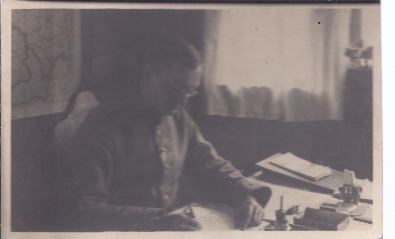 Militär Malb-  Fotokarte Schreibstube