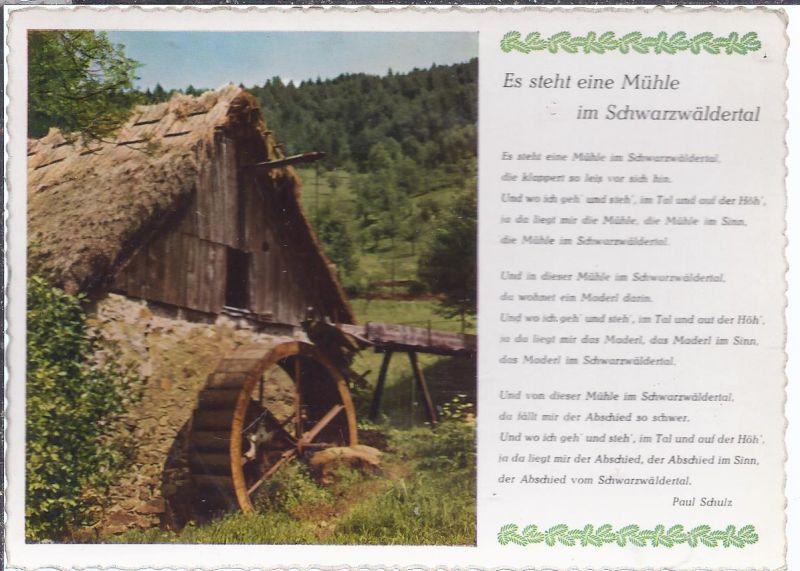 hoki-A-4 Schwarzwald ,  Liederkarte , es steht eine Mühle im Schwarzwäldertal