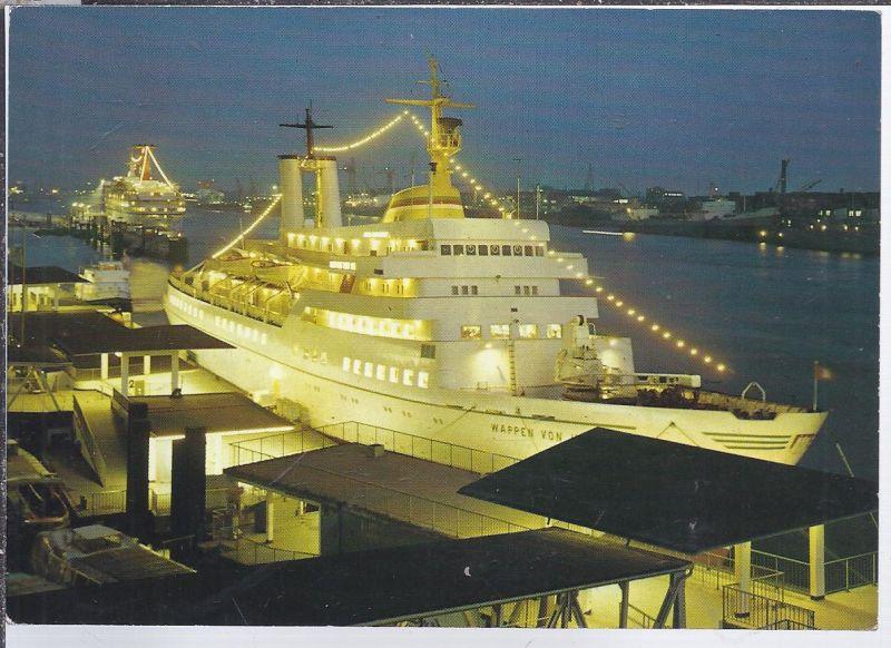 alb-8600  HAMBURG, Seebäderschiff, WAPPEN VON HAMBURG- im Hafen - Nachtansicht