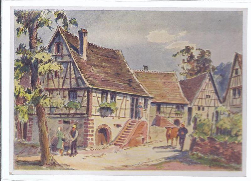 94640-2 Schlettenbach  im Wasgau mitten im Westwall , Gemälde von Karl Graf , Speyer signiert