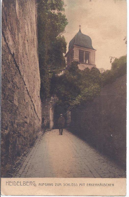 2780 Heidelberg, Aufgang zum Schloß mit Erkerhäuschen
