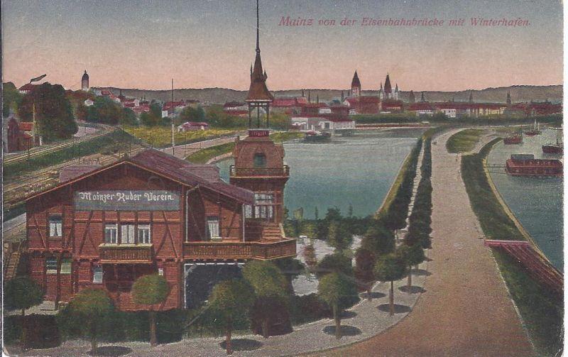 2813  Mainz von der Eisenbahnbrücke mit Winterhafen