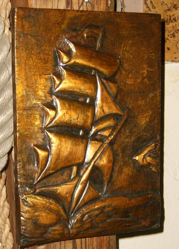 kupfer relief bild segel schiff maritim oldthing kupfer. Black Bedroom Furniture Sets. Home Design Ideas