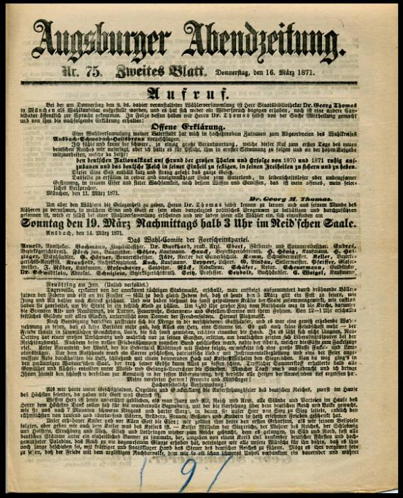 16. März 1871: Ausgabe der Augsburger Abendzeitung Nr. 75, Zweites Blatt