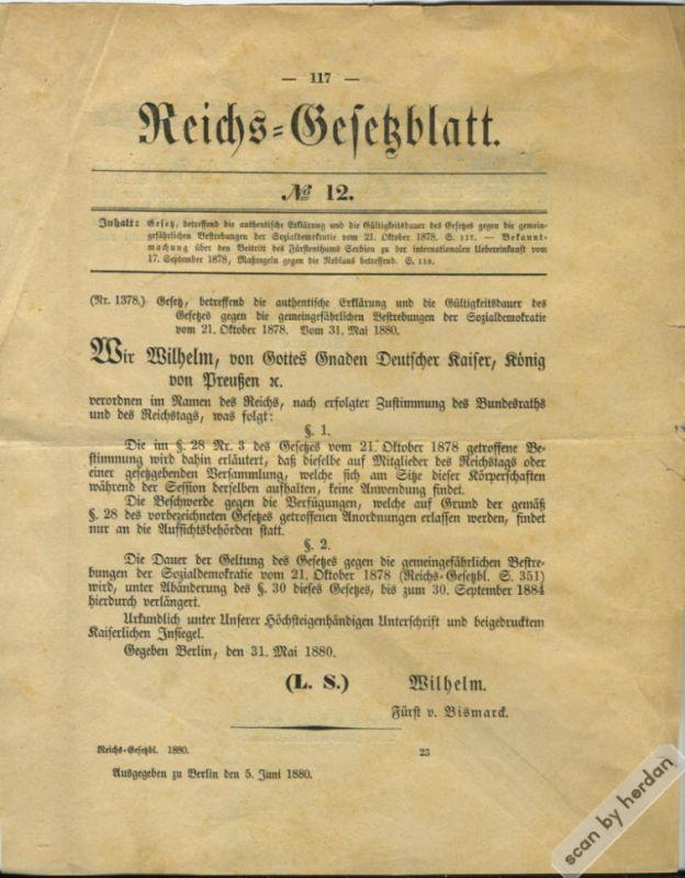 Deutsches Kaiserreich 1880: Verlängerung der Geltung des sog. Sozialistengesetzes (1878) aus dem Reichs-Gesetzblatt vom 5. Juni 1880
