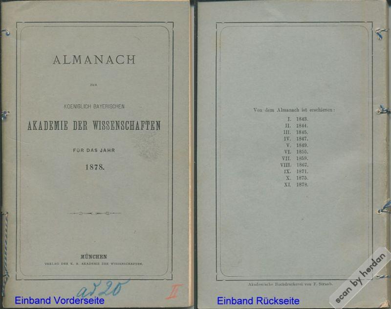 Almanach der Königlich Bayerischen Akademie der Wissenschaften für das Jahr 1878