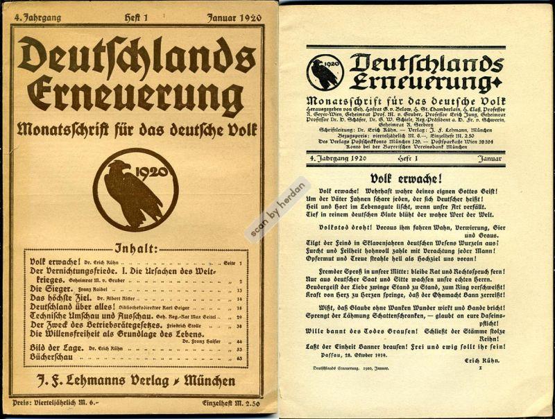 Deutschlands Erneuerung - Monatsschrift für das deutsche Volk. Heft 1 und 2 des 4. Jahrgangs 1920