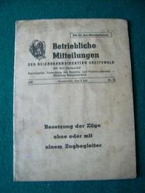 Deutsche Reichsbahn: Betriebliche Mitteilungen der Reichsbahndirektion Greifswald Besetzung der Züge ohne oder mit einem Zugbegleiter 1959 3. Juli Nr. 13.
