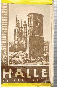 Phönix Stadtübersichtsplan Halle an der Saale Stadtplan mit Klebestestreifen geklebt.