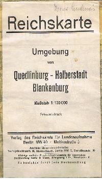 Reichskarte Umgebungskarte von Quedlingburg - Halberstadt Blankenburg von 1922 ( Stadtplan ).
