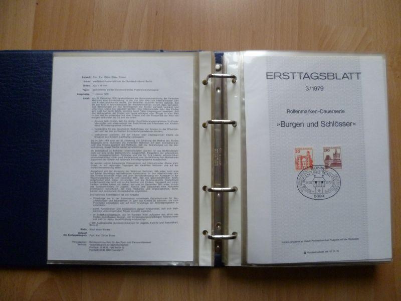 Biete Sammlung Erstagsblätter in Schutzhüllen Jahrgang 1978 Blatt 1 bis 1980 Blatt 26 alle Blätter sind vorhanden und in einem Ringordner untergebracht. Alles sehr sauber einsortiert gut zum weitersammeln geeignet.