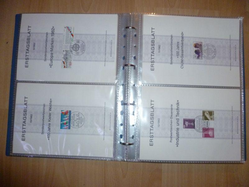 Biete Sammlung Erstagsblätter in Schutzhüllen Jahrgang 1981 Blatt 1 bis 1985 Blatt 26 alle Blätter sind vorhanden und in einem Ringordner untergebracht. Alles sehr sauber einsortiert gut zum weitersammeln geeignet.