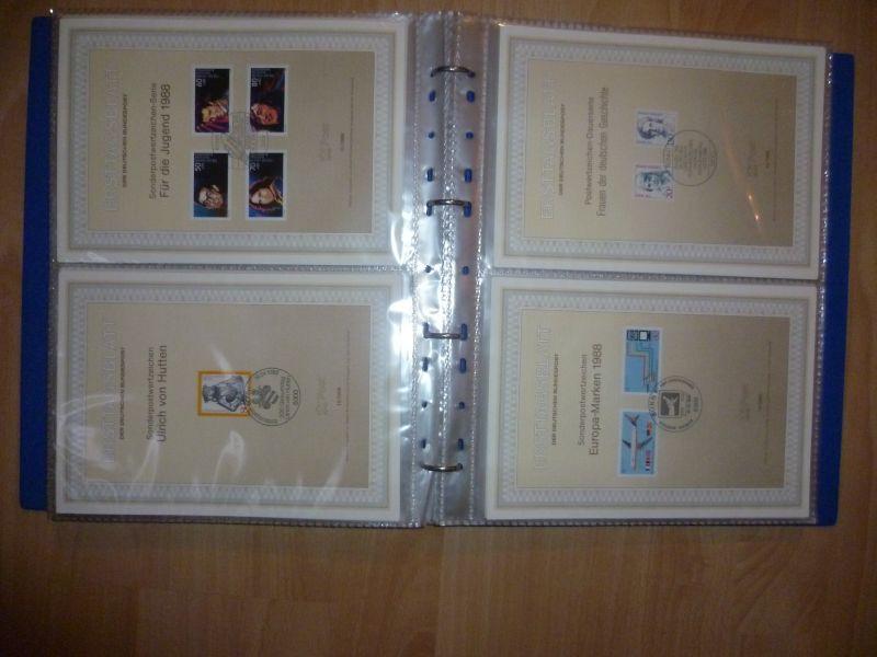 Biete Sammlung Erstagsblätter in Schutzhüllen Jahrgang 1986 Blatt 1 bis 1989 Blatt 33 alle Blätter sind vorhanden und in einem Ringordner untergebracht. Alles sehr sauber einsortiert gut zum weitersammeln geeignet.