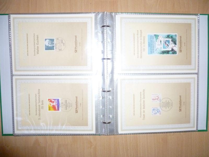 Biete Sammlung Erstagsblätter in Schutzhüllen Jahrgang 1990 Blatt 1 bis 1991 Blatt 48 alle Blätter sind vorhanden und in einem Ringordner untergebracht. Alles sehr sauber einsortiert gut zum weitersammeln geeignet.