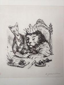 """A. Paul Weber Lithografie \""""Reineke Fuchs\"""""""