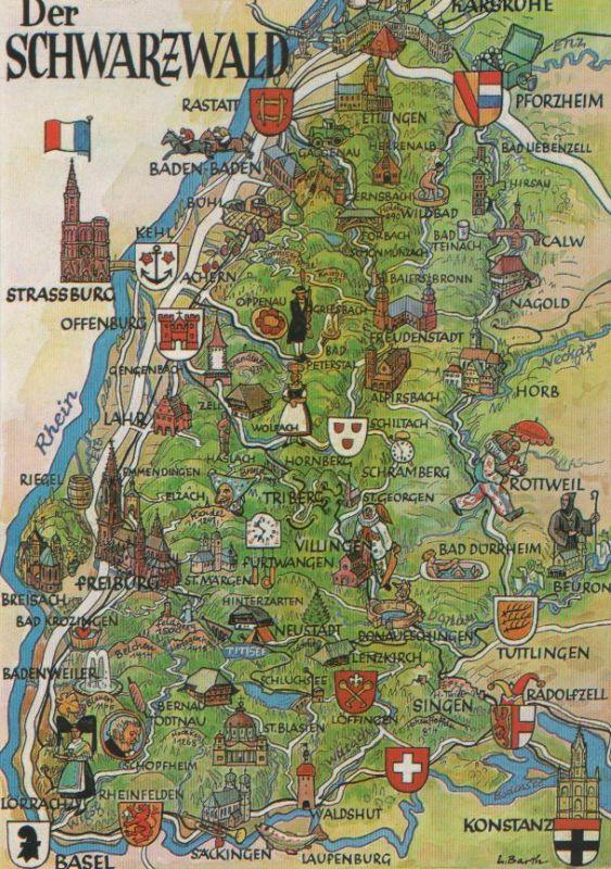 Karte Schwarzwald Zum Ausdrucken.Schwarzwald Karte Ca 1975