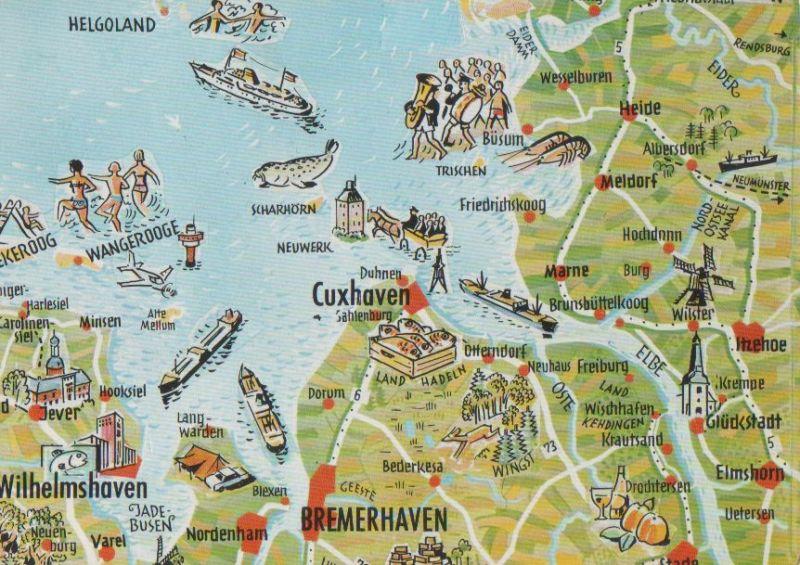 Karte Nordseeküste Niedersachsen.Nordniedersachsen Nordseeküste Karte 1977