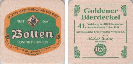Bierdeckel quadratisch - Bolten - 1999 Goldener Bierdeckel