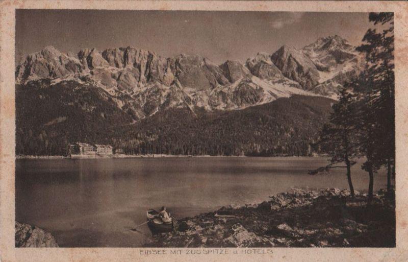 Eibsee - Zugspitze und Hotels - 1927 0