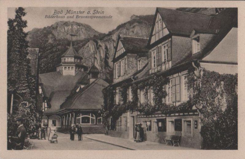 Bad Münster am Stein-Ebernburg - Bäderhaus und Brunnenpromenade - ca. 1935 0