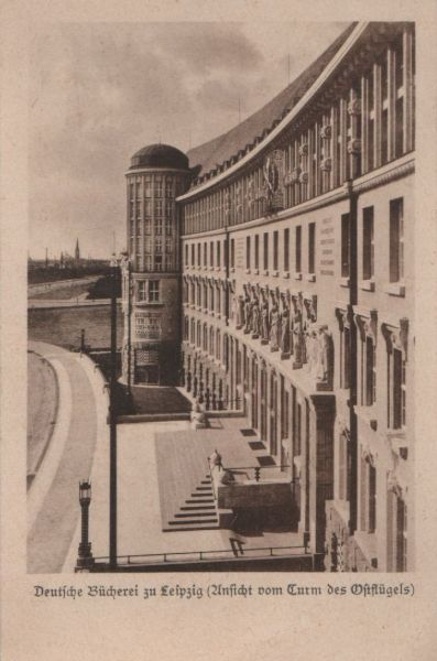 Leipzig - Deutsche Bücherei, Ansicht vom Turm Ostflügel - 1951 0