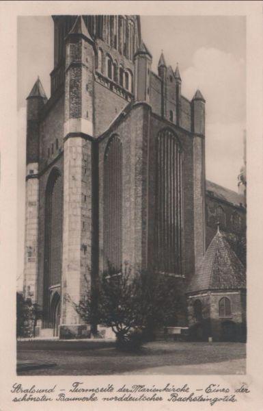 Stralsund - Turmseite der Marienkirche - ca. 1950 0