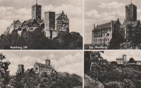 Eisenach - Wartburg SW, Wartburg SO, Wartburg, Wartburg v. Parkplatz aus - 1958